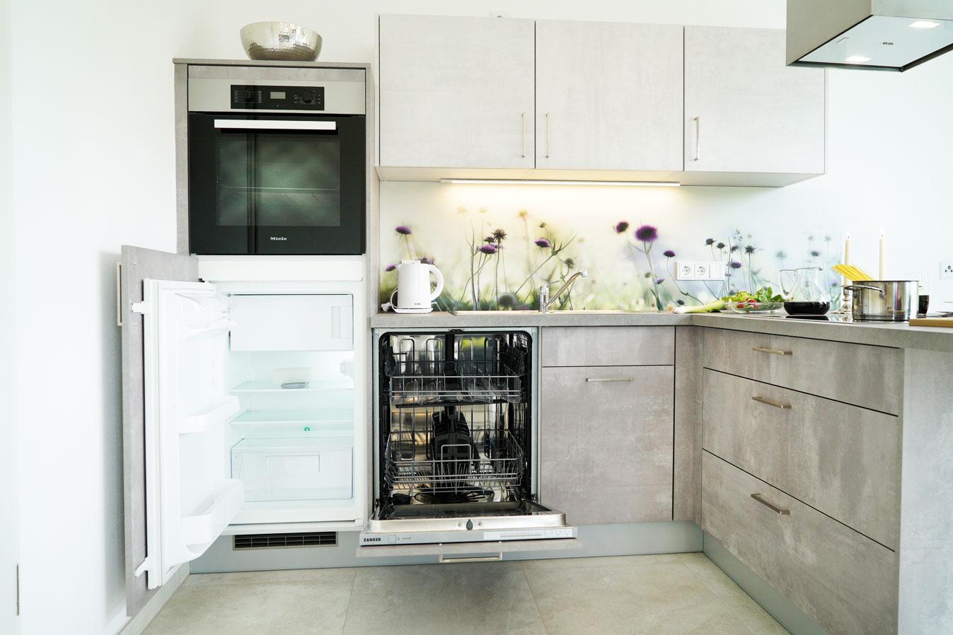 Kühlschrank mit Gefrierfach, Backofen und Geschirrspüler